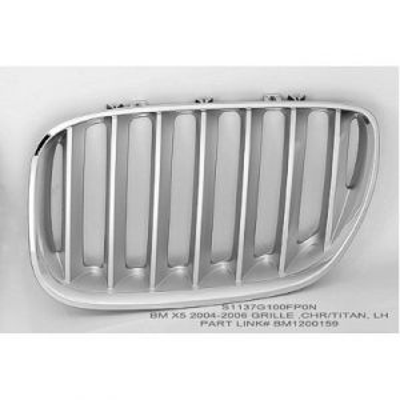 BMW BMW X5 GRILLE LEFT (TITAN)(W/SPORT) OEM#51137124815 2004-2006 PL#BM1200159
