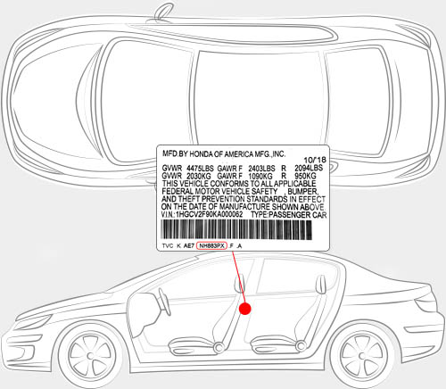Honda Paint Code Locator
