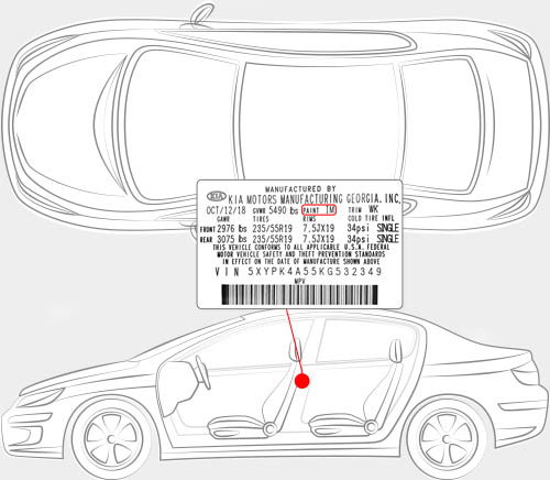 Kia Paint Code Locator
